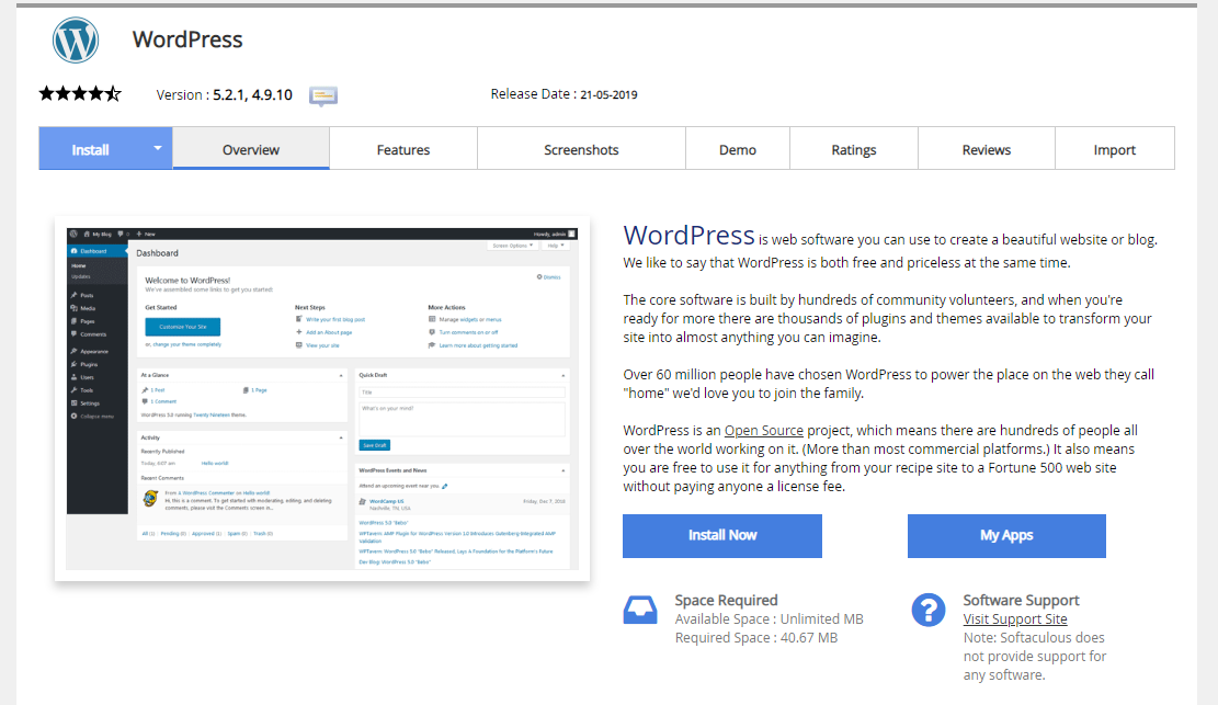 Installing wordpress through softaculous