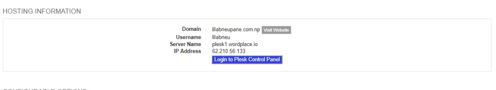 Log in to Plesk Cpanel