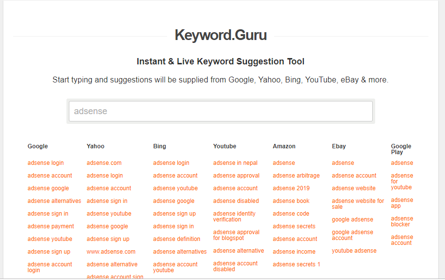 Keyword Guru Free keyword research tool