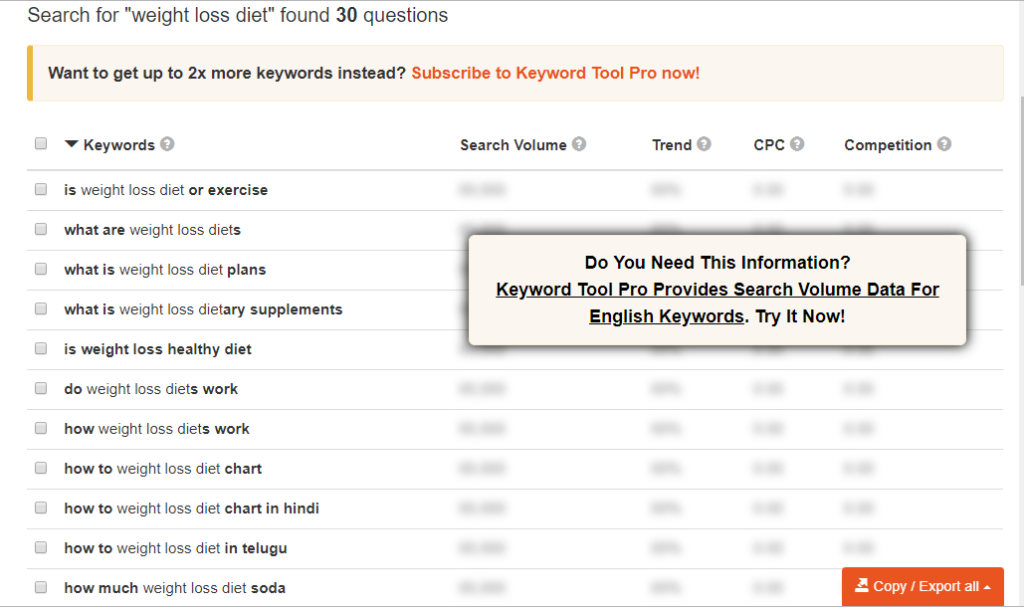 Keyword Tool free keyword research tool
