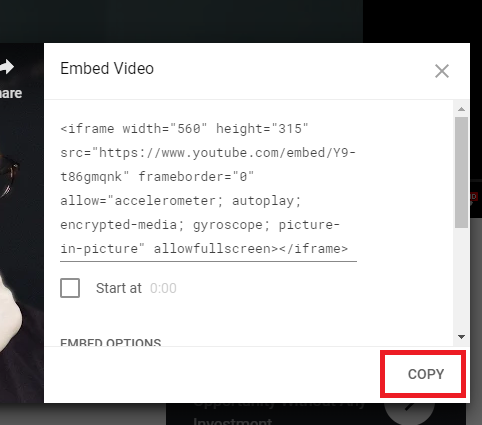 Embed code from youtube