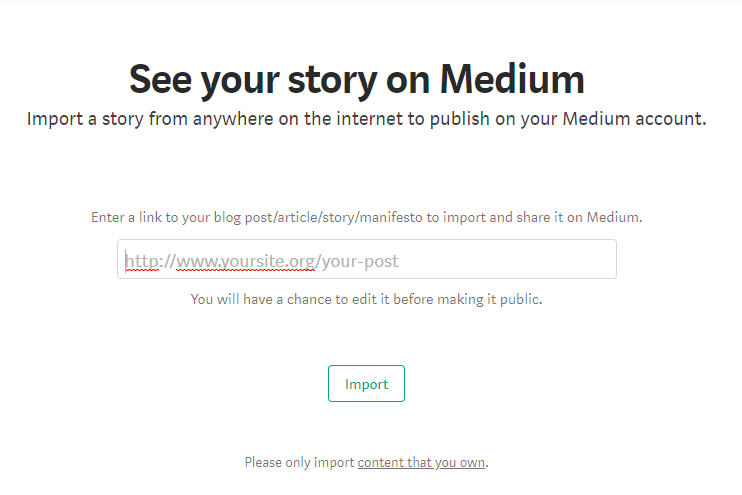 Importing story in medium