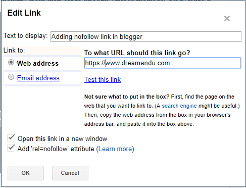 nofollow external links