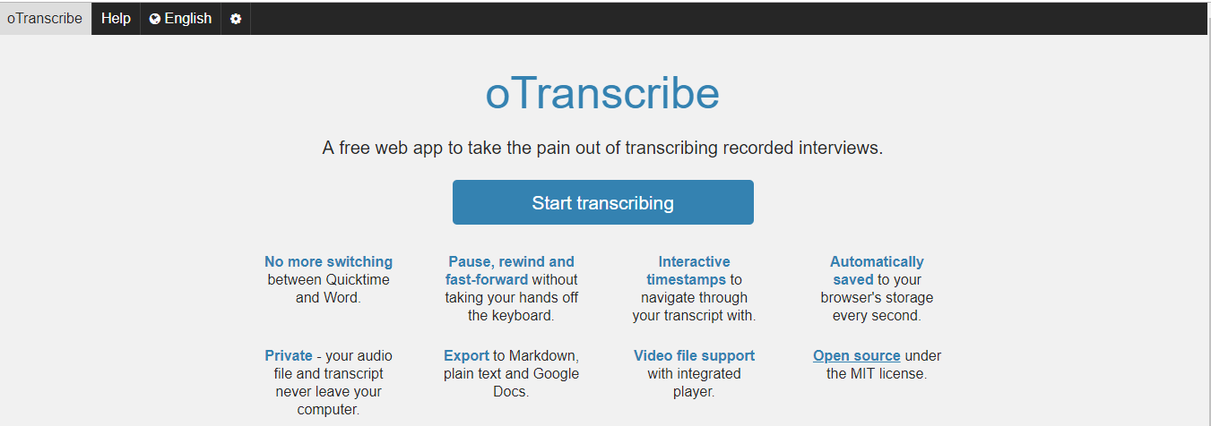 Trabscribe youtube videos with otranscribe