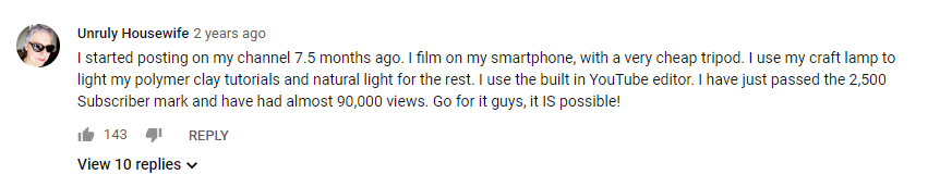 Successful youtubers comment