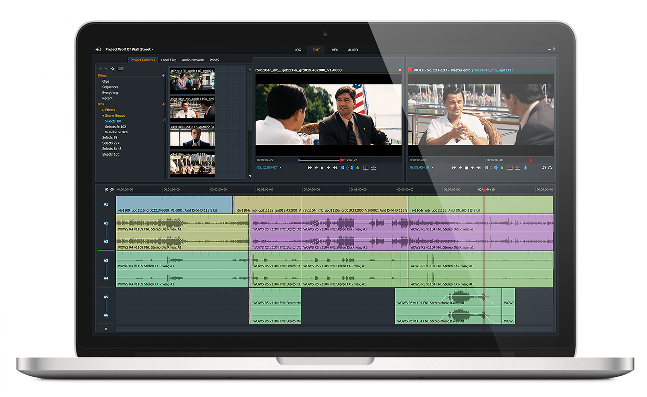 Lightworks video editor interface